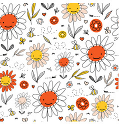 kids doodle flowers and bees seamless vector image