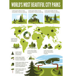 landscape design infographic with city park map vector image