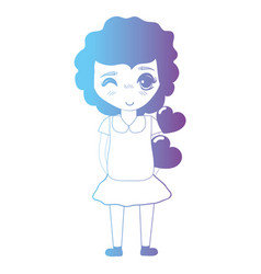 Line avatar girl with hairstyle and dress vector