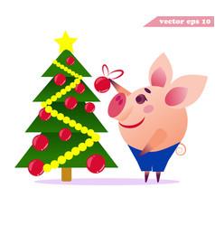 little cartoon pig decorationg christmas tree vector image