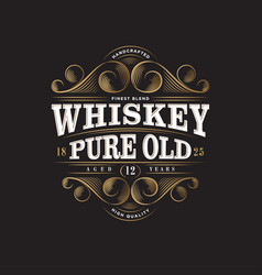 logo whiskey pure old label packaging premium vector image