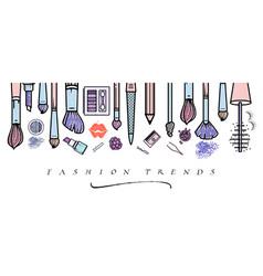 Makeup artist banner beauty salon fashion trends vector