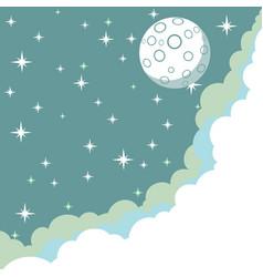 Moonrise close-up night background cartoon vector