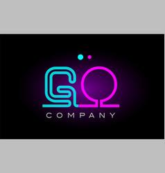 Neon lights alphabet go g o letter logo icon vector