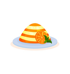 Orange layered pudding on a plate vector