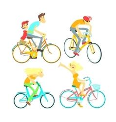 People On Bikes Set vector