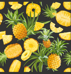 Pineapple fruit texture seamless tropical pattern vector