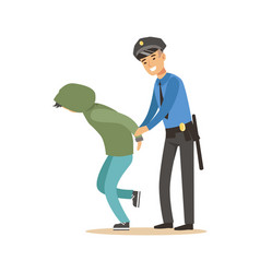 Police officer arresting criminal character vector