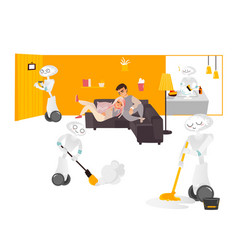 robot assistants free people from chore housework vector image