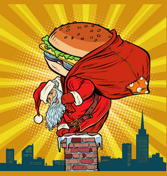 santa claus with a burger climbs into the chimney vector image