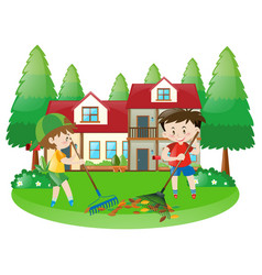 scene with two boys raking dried leaves vector image