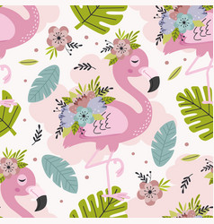 seamless pattern with lovely floral pink flamingo vector image