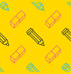 seamless pattern with pen eraser line icons work vector image
