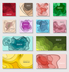 set 12 backgrounds with gradient colors paper vector image