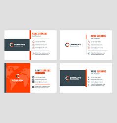 set of 4 business card templates flat design vector image