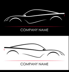 set of abstract sports car silhouettes template vector image