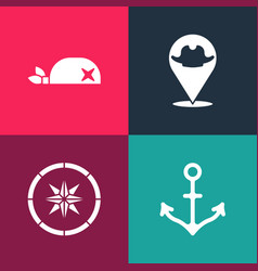 Set pop art anchor compass location pirate and vector