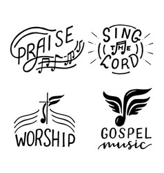 Set with 4 hand lettering logo sing lord vector