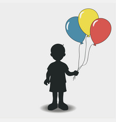 silhouette of a boy with balloons vector image