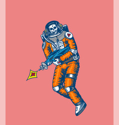 soaring spaceman skeleton with space weapons vector image