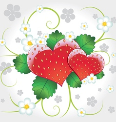 strawberries hearts with swirl vector image