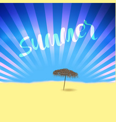 summer retro poster with lettering and beach vector image