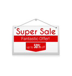 Super sale horizontal poster with text design vector