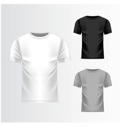 T-shirt white grey black template front view vector