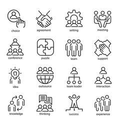 Team work line art icon set business group symbol vector