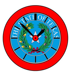 Texas state seal clock vector