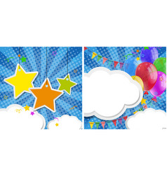 two background design with stars and balloons vector image