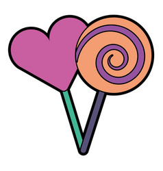 Two round lollipop and heart shape candy vector