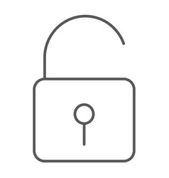 unlock thin line icon security and padlock lock vector image