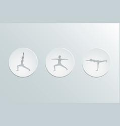 virabhadrasana icons set vector image