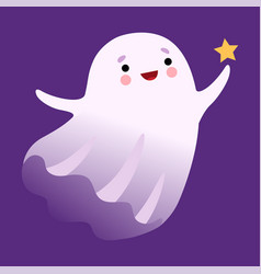 White ghost flying with star cute halloween vector