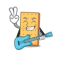 With guitar graham cookies mascot cartoon vector