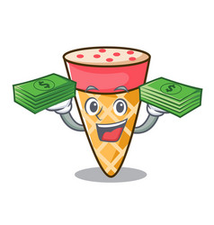 With money bag ice cream tone mascot cartoon vector