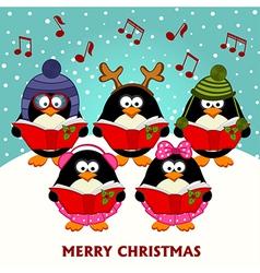 Christmas choir penguins vector