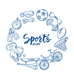 hand drawn sports tools circle concept with vector image