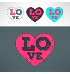 hearts set for tshirt print design Love vector image vector image