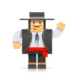 spanish man origami toy vector image vector image