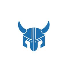 viking helmet flat icon vector image