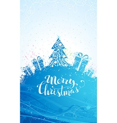 Blue Christmas tree background vector image vector image