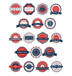 Circular retro badges or labels set vector image