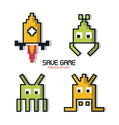 colorful poster of save game press start with vector image