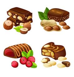 dark and milk chocolate candies set vector image vector image