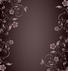 flower ornament on brown background vector image vector image