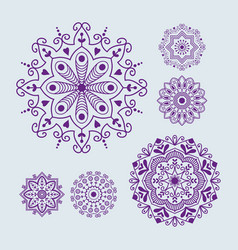 henna tattoo mehndi flower template doodle vector image