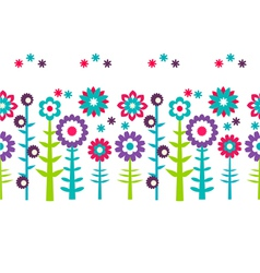 Summer flowers pattern background vector image