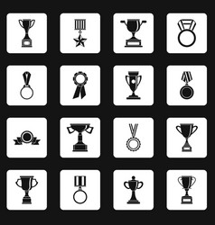 trophy icons set squares vector image